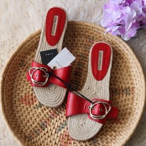 Genuine Leather Red Buckle Sandal